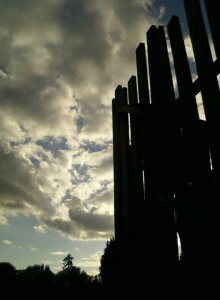Louring skies over the children's play-area